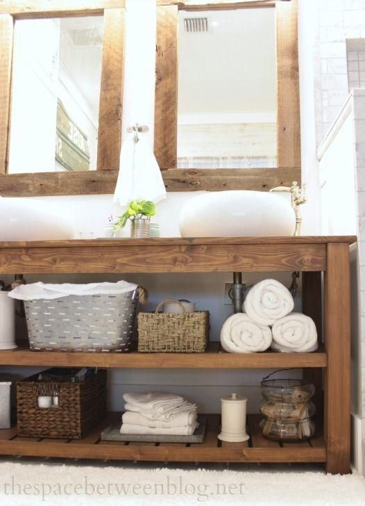 Reclaimed wood bathroom vanity with open shelves – Badezimmer