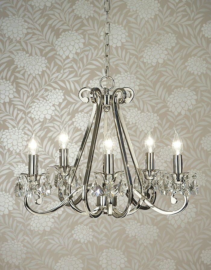 Viore Design Luxuria Chandelier 5 Light In Polished Nickel