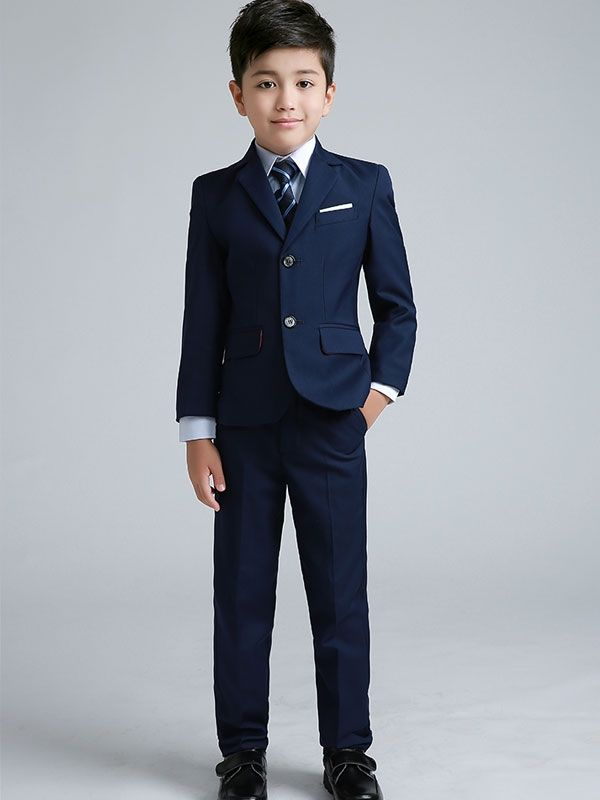 Little boys outfit idea: Black Suits & Blue Shirts & Black Vest & Strip Tie & Black Pants. This suit set for kid boys only costs $95.9 #balackfridaysale #promoutfits #boyfashion