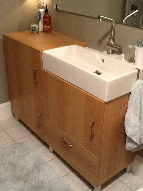 Image Of updated vanity for our tiny master bathroom Ikea Lillangen sink Grundtal faucet