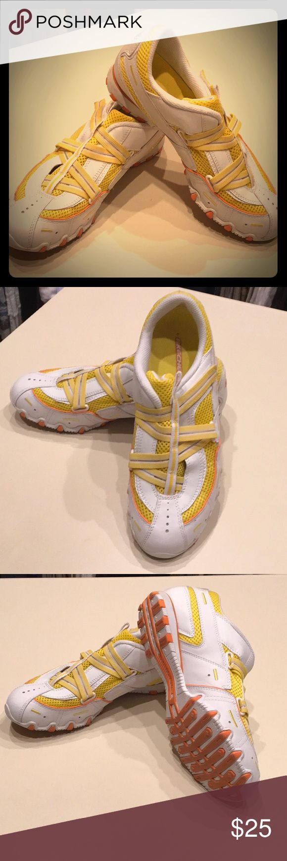 Sketchers Yellow white and orange Sketcher sneakers. Very good condition! SKETCHERS Shoes Sneakers
