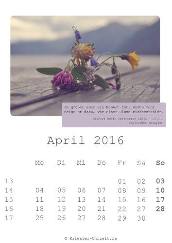 April-Kalender 2016 zum Ausdrucken - Zitate-Kalender
