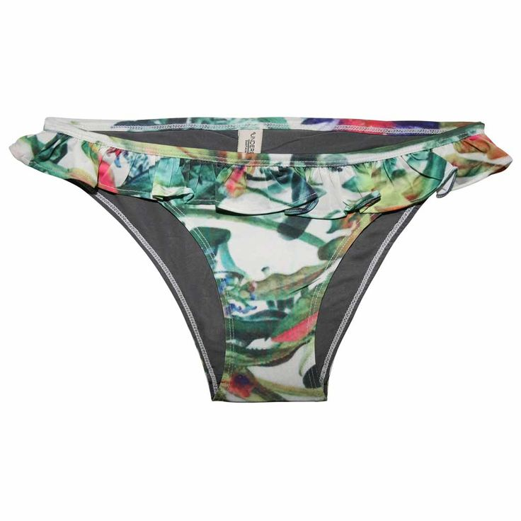 Bikini briefs with exotic print in recycled polyester and with ruffle detail in waistline.