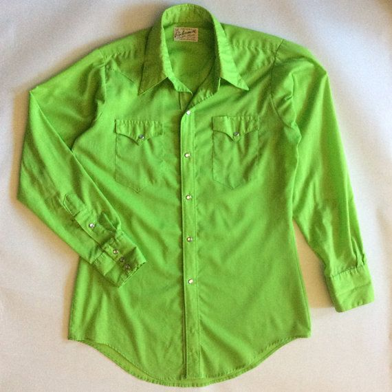 1970's brilliant lime green cowboy shirt by by afterglowvintage