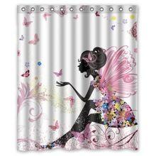 Rosa Schmetterling Schöne Mädchen Flügel Wasserdichtes Moldproof Duschvorhang 180x180 cm Polyester Stoff Bade Vorhänge mit Haken(China (Mainland))