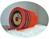 Vintage Vinyl Rack ORange Runde einzigen Datensatz stehen Kunststoff Orange, 70er Jahre home Dekor Vinyl Rack, Vinyl-Speicher-Kollektor Made in Germany
