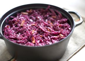 Braised Red Cabbage with Bacon - one of my husband's favorites!  Pair this with homemade schnitzel and spaetzle, and serve with an imported beer or cold Reisling for an amazing German meal!