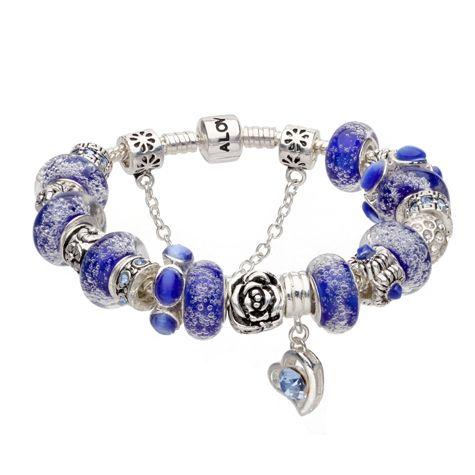 Bratara dama Hot Blue Murano crystal love Pandora Style