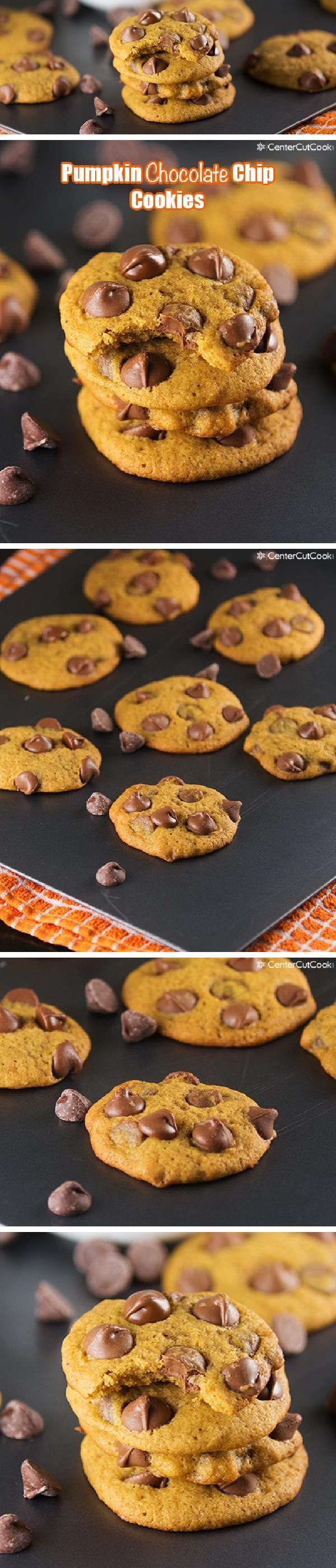 Easy PUMPKIN CHOCOLATE CHIP COOKIES made with Ghirardelli chocolate chips! Super soft cookies with hints of pumpkin and cinnamon. Delicious as is, or top them with a little cream cheese frosting!
