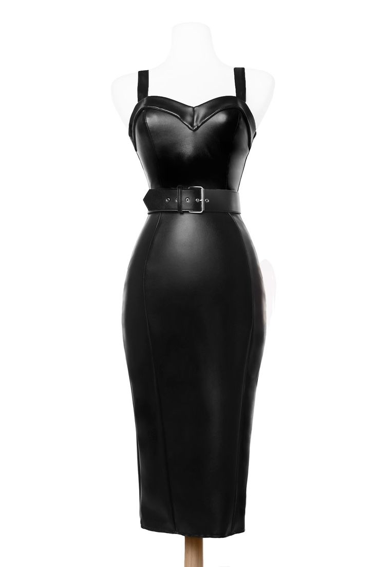 Deadly Dames - Downtown Dame Dress in Faux Black Leather | Pinup Girl Clothing
