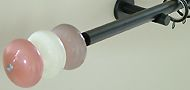 Walcot House 19mm Curtain Pole Black, 3 Moonstone Crocus,Opal,Dusky Pink