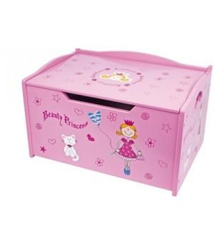 """Venta Baúl guarda juguetes de madera infantil, """"La princesa"""" color rosa. Ref Berlín 5354"""