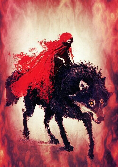 Red riding hood... Instead if running from the beast she befriended him