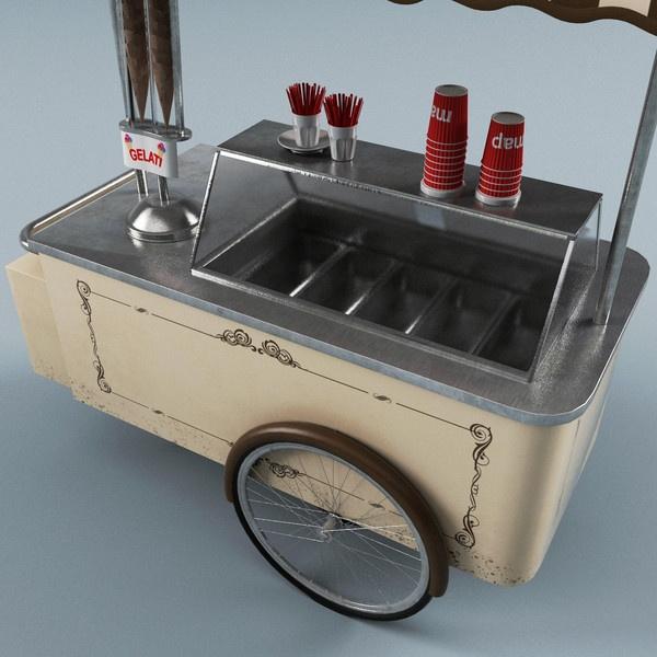 ice cream cart max - Ice Cream Cart V3... by 3d_molier