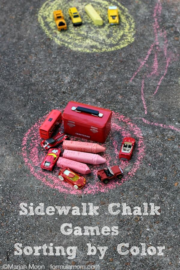 Sidewalk Chalk Games: Sorting By Color | http://formulamom.com/sidewalk-chalk-games-sorting-color/