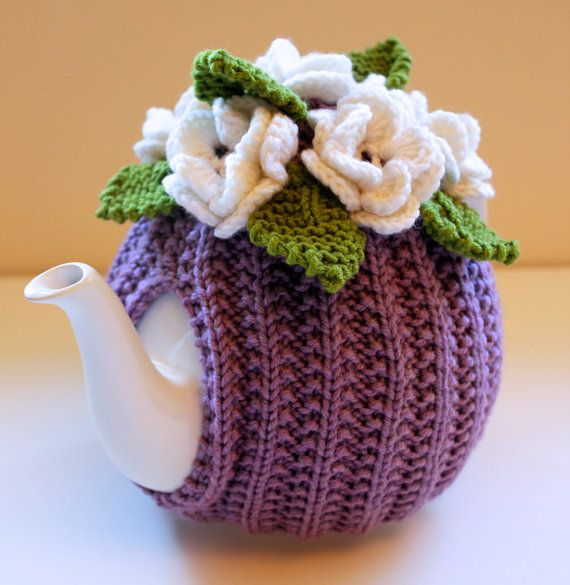 Lavender Love - Flower Garden Tea Cosy - in Pure Merino Wool - by Tafferty Designs on Etsy, £20.00