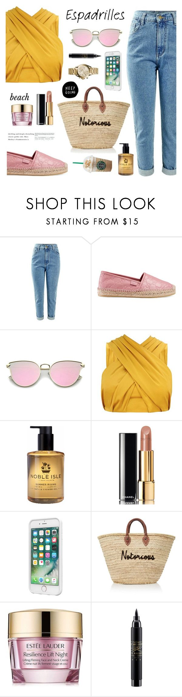 """Bella"" by nadialesa ❤ liked on Polyvore featuring Gucci, Carnill & Company, Chanel, Laut, Estée Lauder, MAC Cosmetics, Michael Kors, boyfriendjeans and espadrilles"