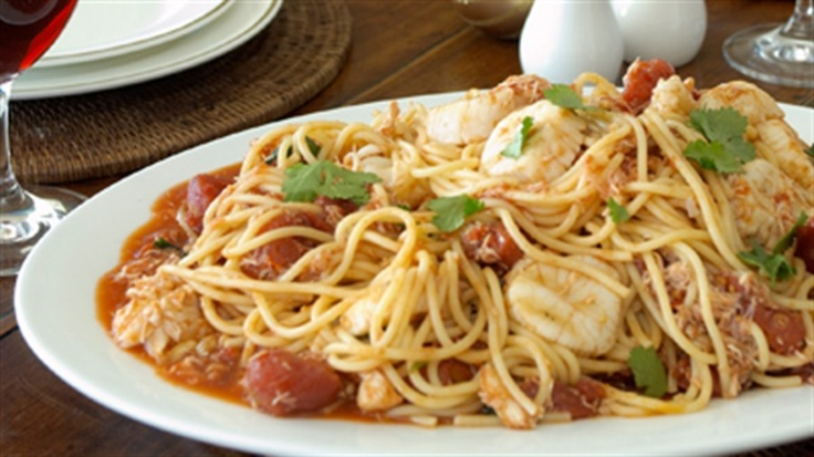 Pasta with blue swimmer crab meat, scallops, local lobster with a coriander broth