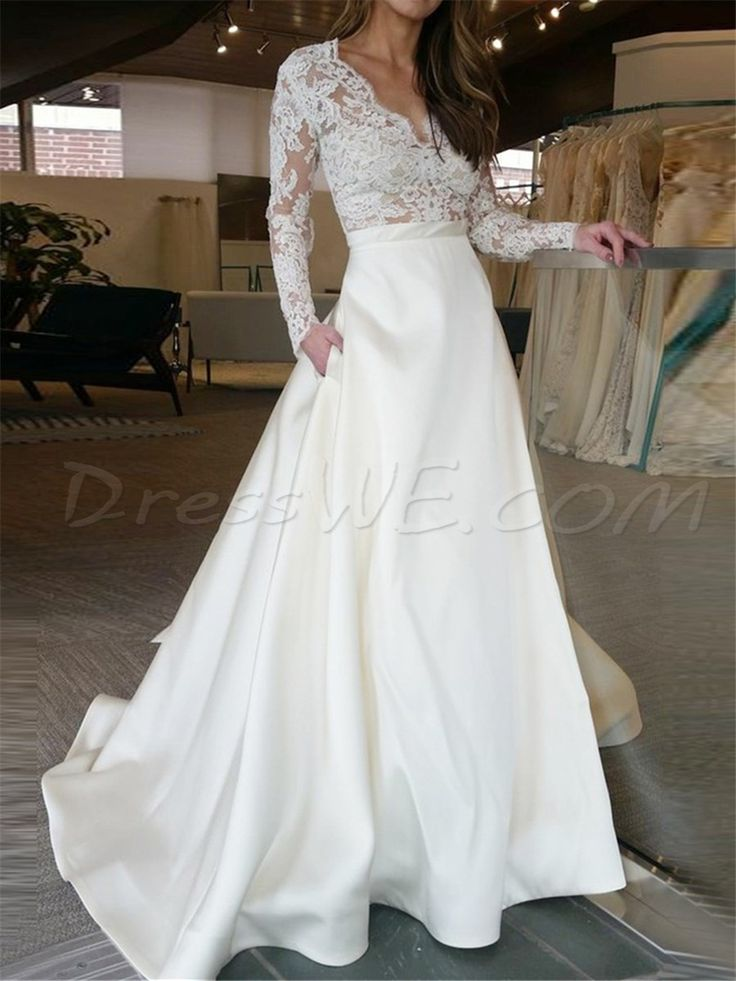 $179.99 Dresswe.com SUPPLIES V-Neck Lengthy Sleeves Lace A-Line Scorching Sale Marriage ceremony Costume