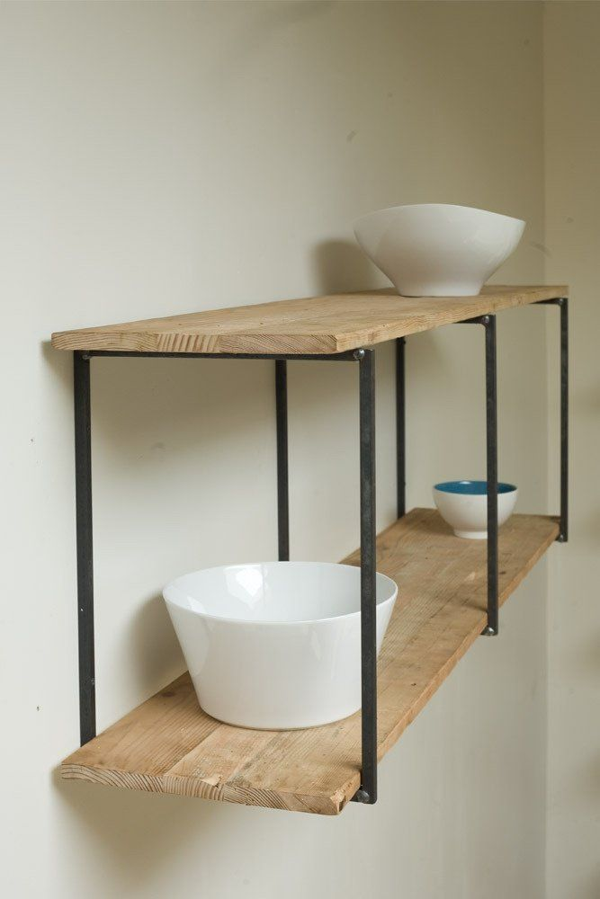Welded and salvaged wood shelves. Cute! If only I had welding equipment and could make one myself.