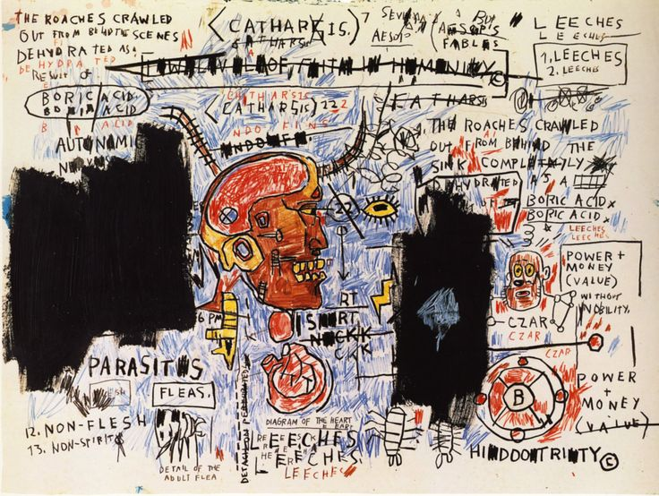 Leeches - Jean-Michel Basquiat    Jean-Michel Basquiat was an American artist. He began as a graffiti artist in New York City in the late 1970s and evolved into a Neo-expressionist painter during the 1980s.