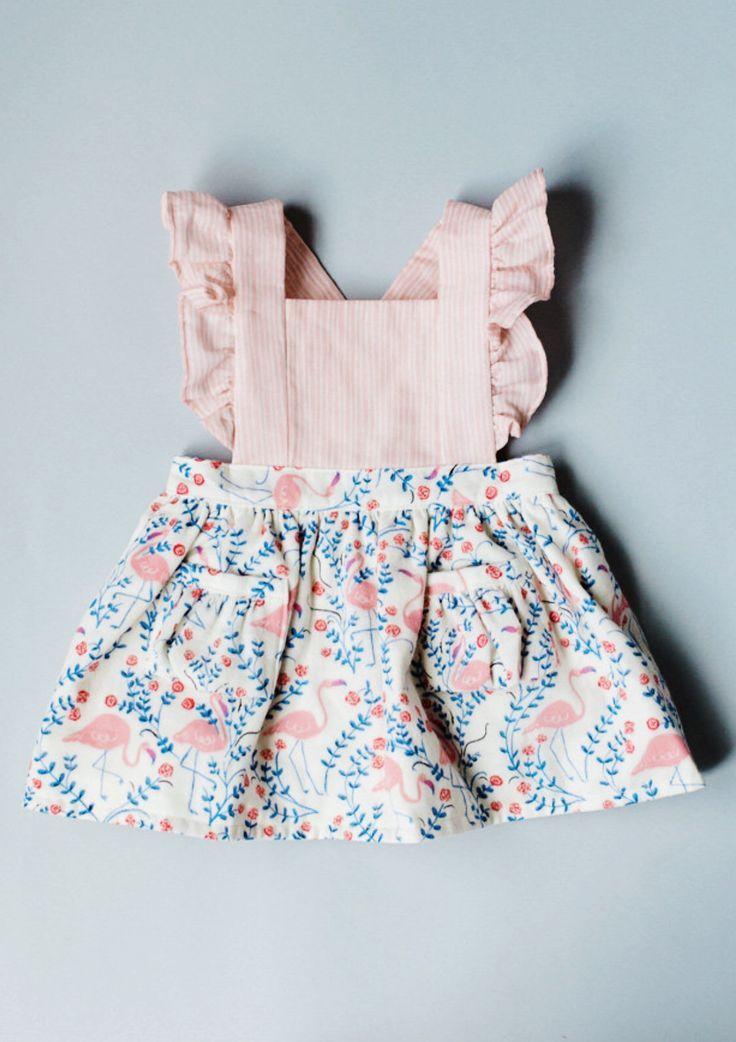 handmade cotton linen flamingo print pinafore dress