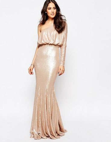 On SALE at 61% OFF! Tempest Sequin One Shoulder Maxi Dress by Forever Unique. Maxi dress by Forever Unique, Sequinned fabric, Asymmetric neckline, Crop top layer, Single sleeve design, Slim fit -...