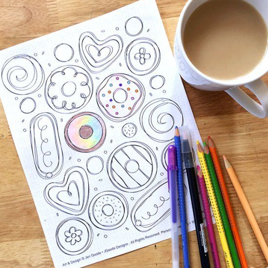 Start the morning with donuts you can color! This free printable is an original doodle art design by Jen Goode.
