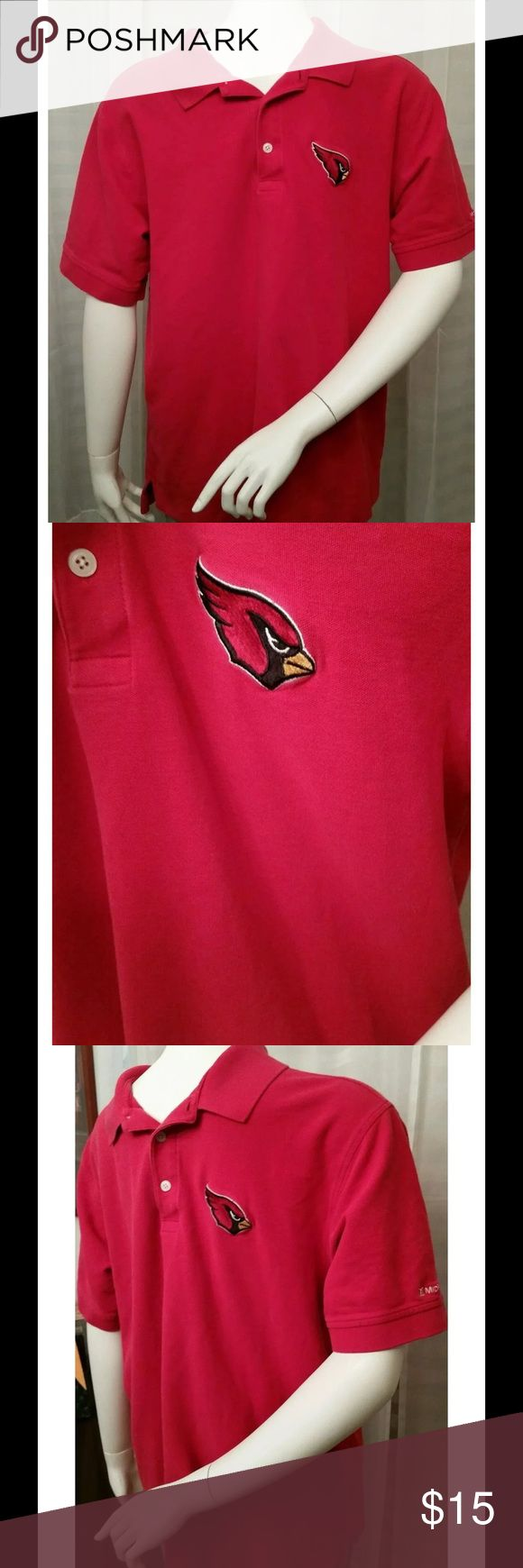 Devin & jones Az cardinals polo shirt sz: M for sale is a men's, Devon and Jones brand, short sleeve, NFL, red, Arizona Cardinals polo shirt, size medium   Shirt is in good condition with no rips or stains, on the left sleeve it says MidFirst Bank   From under one arm to under the other measures approximately 21 inches.   From the top of the shoulder to the bottom of the shirt, measures approximately 27 inches devon & jones Shirts Polos
