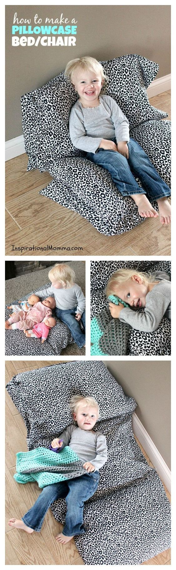Pillowcase Bed/Chair - This bed/chair is inexpensive and so easy to make. Your little one will love discovering just how many ways it can be used!:
