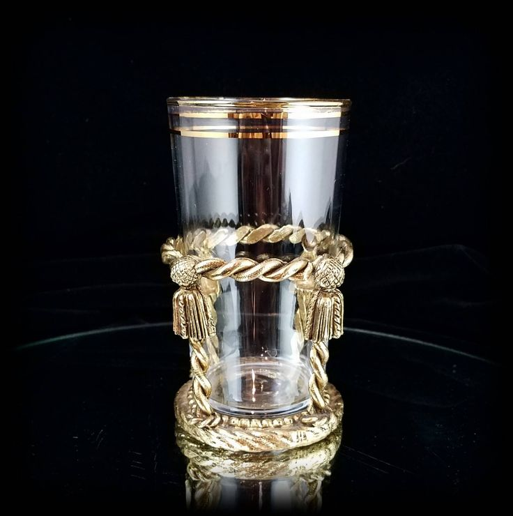 Filigree Bath Cup Drinking Glass Hollywood Regency Gilded Gold Bathroom Tumbler Toothbrush Holder Bath Decor by OldGLoriEstateSale on Etsy