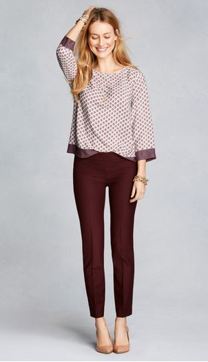 printed blouse, cabernet dress pants, neutral flats; work outfit - fall / winter