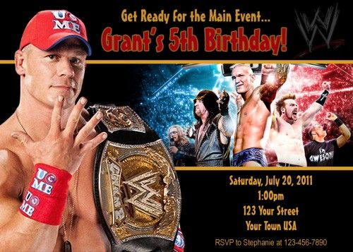 153 best wwe birthday images on pinterest wrestling party wwe wwe wrestling john cena personalized invitation digital file partiesrpersonal childrens on artfire bookmarktalkfo Image collections