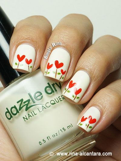 Heart garden nails art Heart gardens are also very easy to do. Paint your nails off-white and draw hearts with brown stems and small leaves. Seal your nail design with top coat.