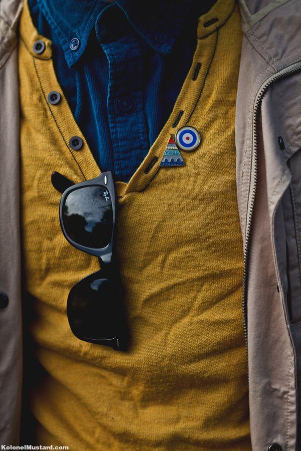 Layers & Visual Collectibles: Men Clothing, Fashion Men, Colors Combos, Men Style, Men Fashion, Ray Bans Sunglasses, Men Apparel, Mustard Yellow, Man Style