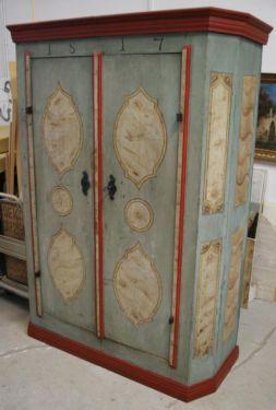 schöner kleiner Bauernschrank mit der original Farbfassung Innenraum mit einer Schublade und...,Bauernschrank antik bemalt in Berlin - Lichtenberg