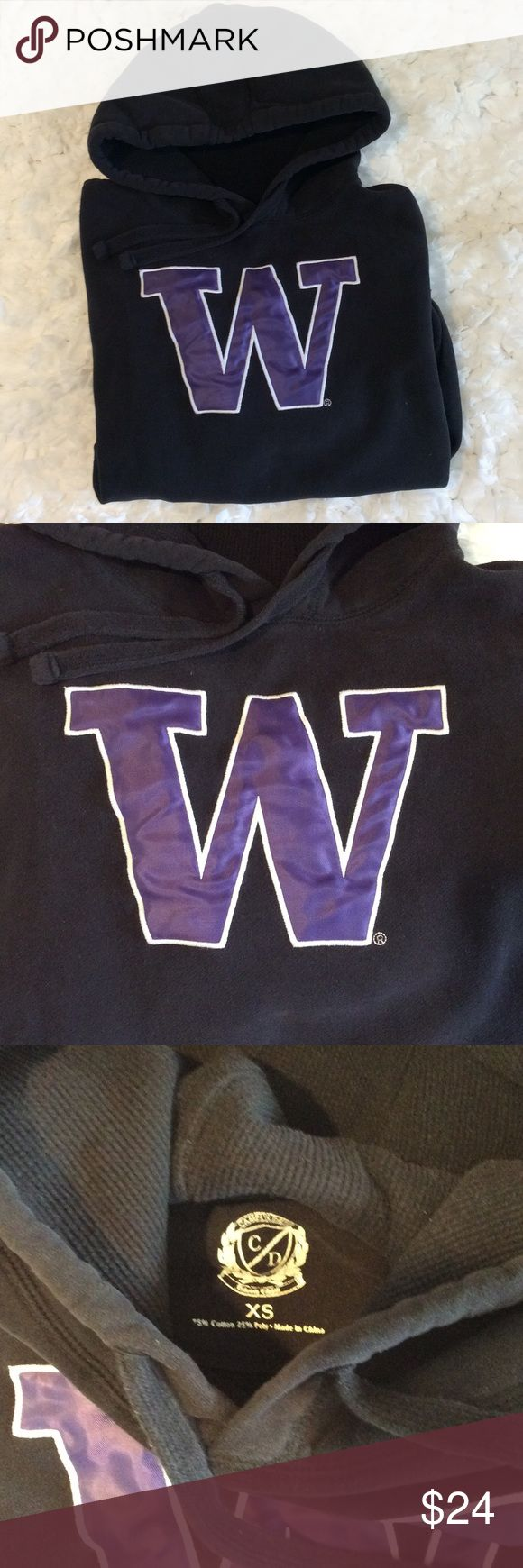 University of Washington Women's Hoodie U of W Huskies high quality black hoodie. Sweatshirt material 75% Cotton, 25% Polyester. Purple W stitched on to front of pull over hoodie. Love it but I have too many. Want it to find someone who will love it too. Women's XS and true to size.  Would also fit a youth Large. Tops Sweatshirts & Hoodies