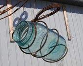 Recycled Antique Quart Jar Bird feeder Bug Garden Art  As seen in Bird & Blooms free shipping