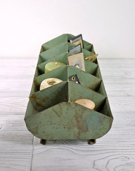 Vintage Metal Storage Bin / Industrial Storage