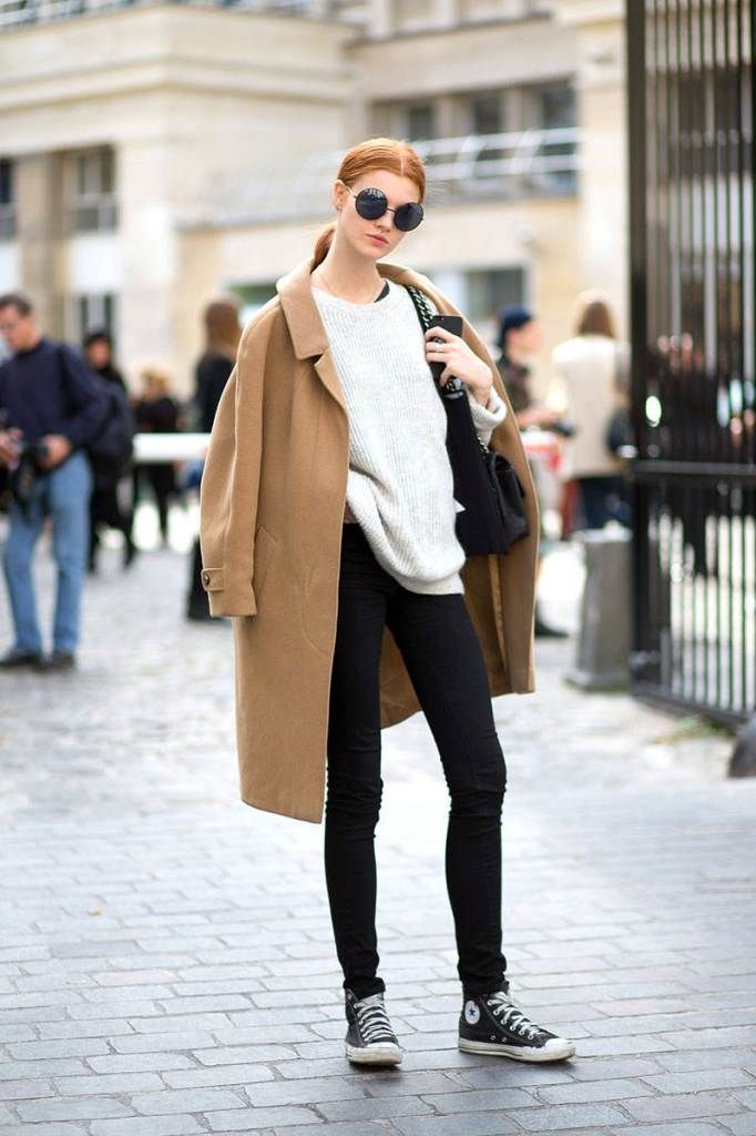 Red Hair Camel Coat Street Style Pinterest Camel Coat Camels And Black Skinnies