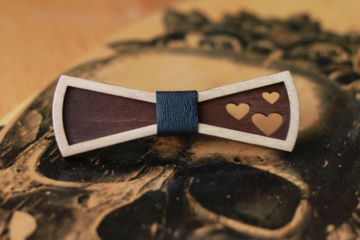 Wooden Bow Tie for women. 3D bow tie with black leather and heart. Little bow…