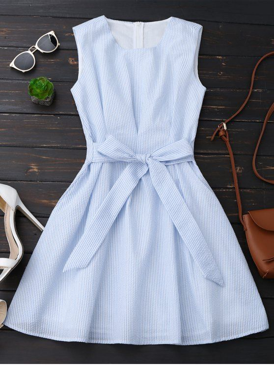 Sin mangas de rayas bowknot vestido - Raya Azul L