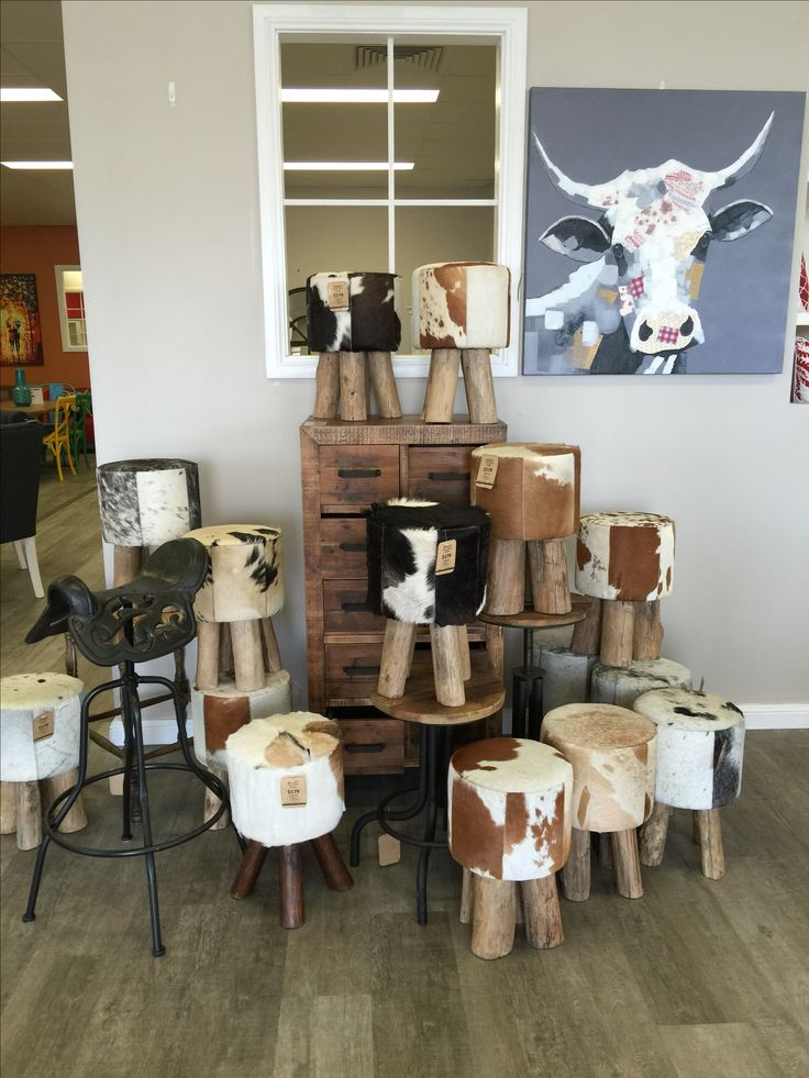 Cow Hide Leather Stools. Industrial. Unique and Funky Stools.