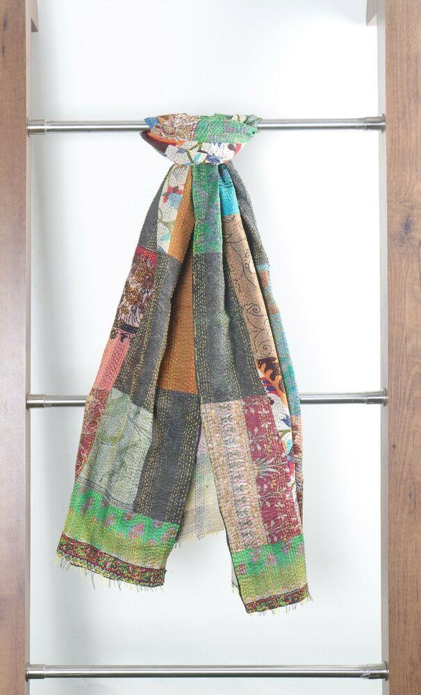 25Pc Wholesale Lot Vintage Kantha Cotton Patchwork Scarf Reversible Stole Shawls