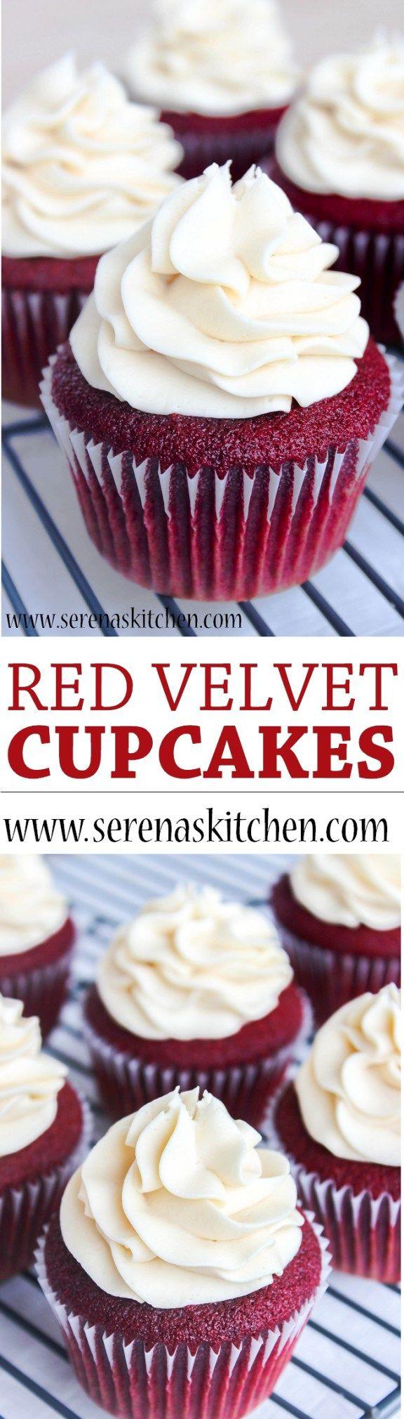 Red Velvet Cupcakes via serenaskitchen.com #redvelvet #cupcakes