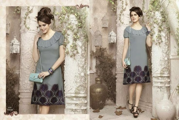 Superb Designer Ready to Wear Georgette Kurti with linning  in Grey color with beautiful Thread Embroidery .  Available in S,M,L, XL size.