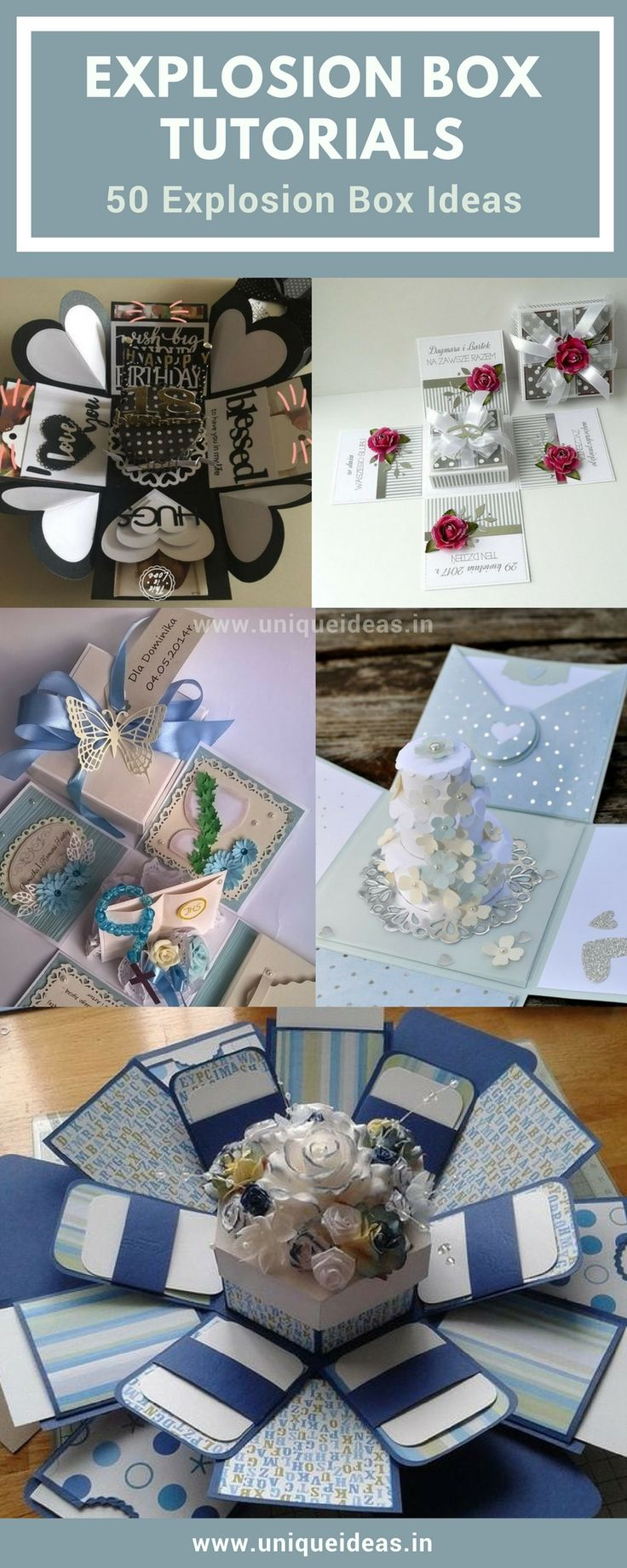 Check out the Easy Explosion Box Tutorials + 50 Explosion Box ideas  #wedding_invitations #birthday_gifts #ideas