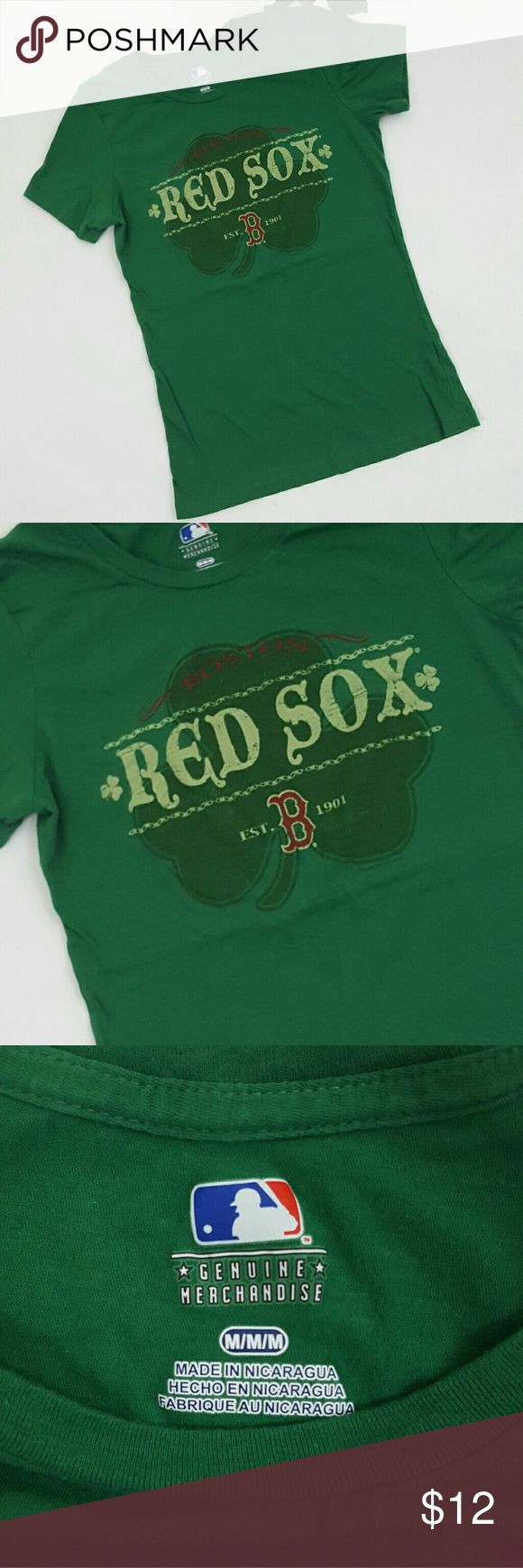 MLB Red Sox Green Shamrock T-Shirt  Sz M EUC! Tops Tees - Short Sleeve