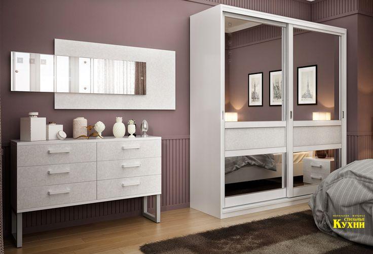 """Мебель для спальной комнаты с кроватью """"Патриция"""" в отделке шпон белый. Шкаф-купе, комод, прикроватные тумбы и зеркало дополнят лаконичный интерьер спальной комнаты.  #стильныекухни #stilkuhni #спальни"""