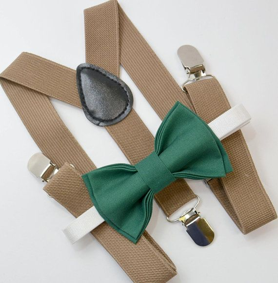 9caeb30057a Bow Tie   Suspenders SET   Juniper Green Bow Tie   Taupe Brown Khaki  Suspenders   Kids Mens Baby Page Boy Set 6months - to Adult Set
